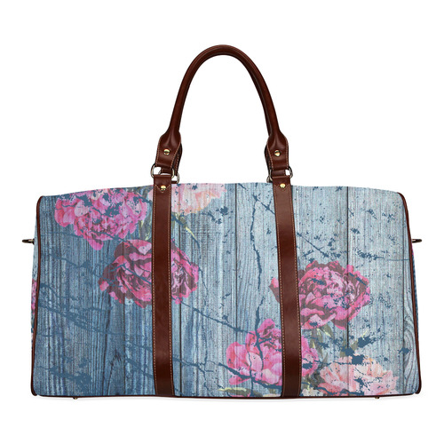 Shabby chic with painted peonies Waterproof Travel Bag/Large (Model 1639)