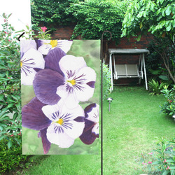 Purple and white pansies flowers Garden Flag 12''x18''(Without Flagpole)