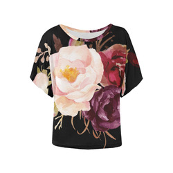 Burgundy Pink Watercolor Roses Floral Women's Batwing-Sleeved Blouse T shirt (Model T44)