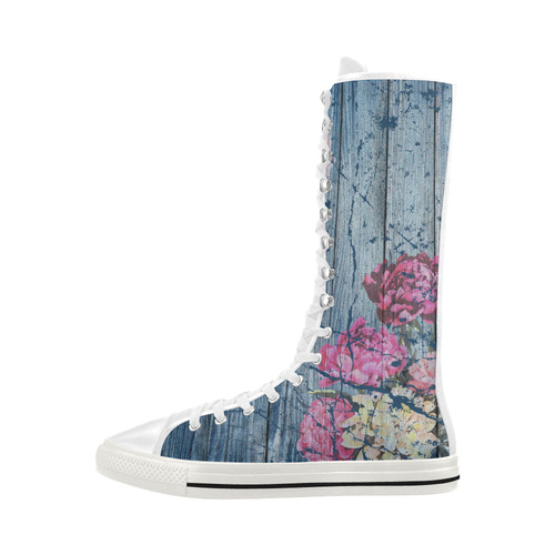 Shabby chic with painted peonies Canvas Long Boots For Women Model 7013H