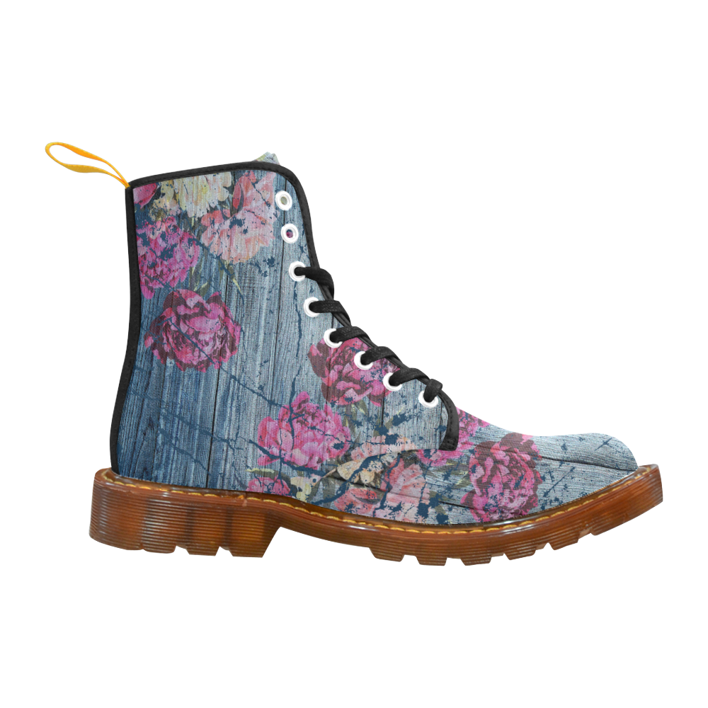 Shabby chic with painted peonies Martin Boots For Men Model 1203H