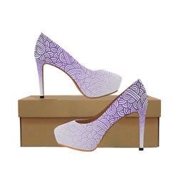 Gradient purple and white swirls doodles Women's High Heels (Model 044)