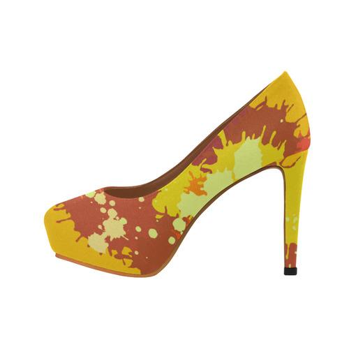 Summer Orange Yellow Splash Painting Women's High Heels (Model 044)