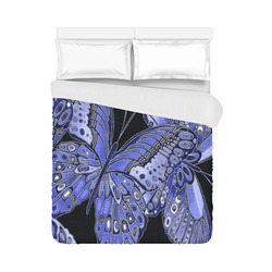 "Blue Butterfly Pattern Duvet Cover 86""x70"" ( All-over-print)"