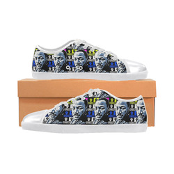 FIGHT THE POWER-2 MLK TILED Canvas Shoes for Women/Large Size (Model 016)