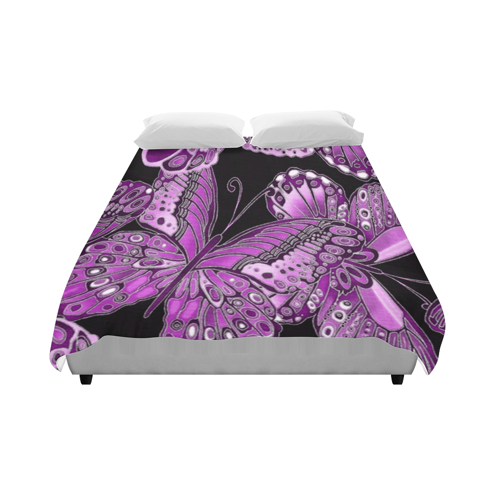 "Pink Butterfly Pattern Duvet Cover 86""x70"" ( All-over-print)"