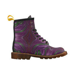 Emerald and Amethyst Jeweled Fractal Abstract High Grade PU Leather Martin Boots For Women Model 402H