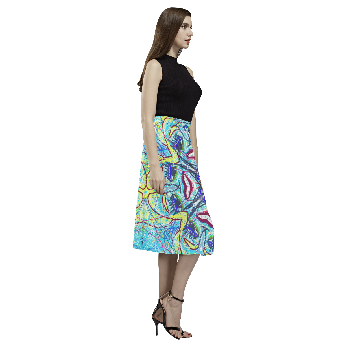 Thleudron Women's Coredelia Aoede Crepe Skirt (Model D16)