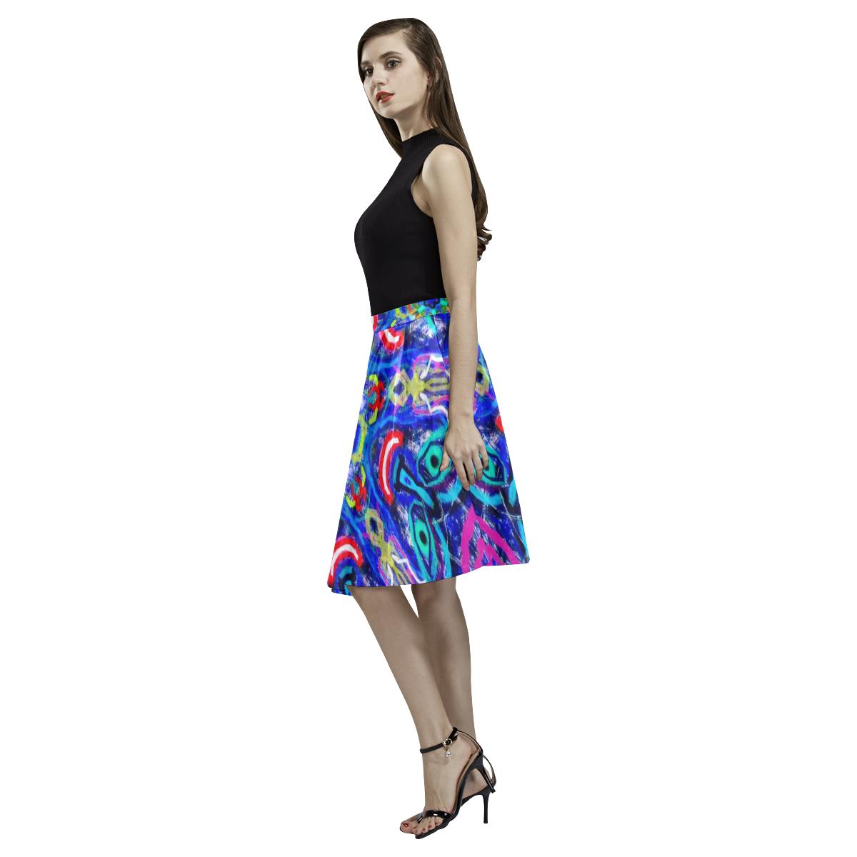 Thleudron Women's The Rancher Melete Pleated Midi Skirt (Model D15)