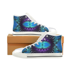 Amethyst Sapphire Turquoise Gems Fractal Abstract Women's Classic High Top Canvas Shoes (Model 017)