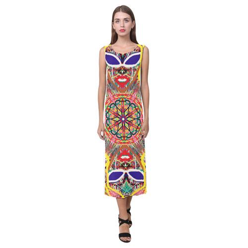 Thleudron Women's Cayman Phaedra Sleeveless Open Fork Long Dress (Model D08)