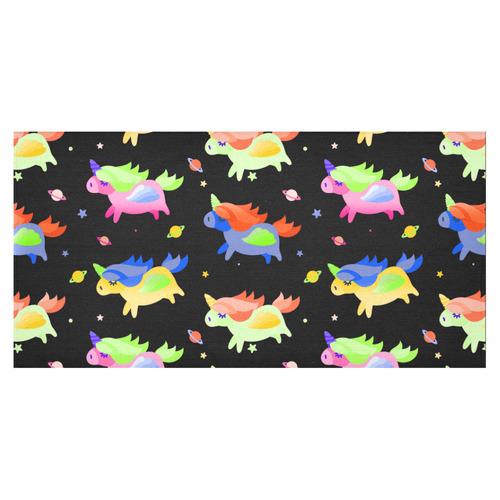 "Cute Flying Unicorns Stars Planets Starry Night Cotton Linen Tablecloth 60""x120"""