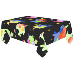 "Cute Flying Unicorns Stars Planets Starry Night Cotton Linen Tablecloth 60""x120"""