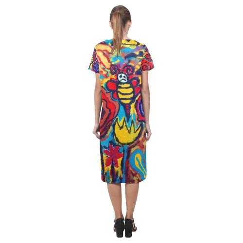 bees nice short sleeves casual dress Short Sleeves Casual Dress(Model D14)