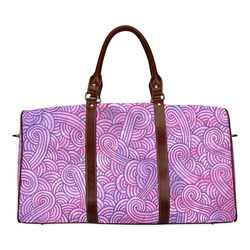 Bright pink and purple swirls doodles Waterproof Travel Bag/Large (Model 1639)