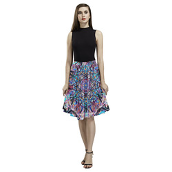 Thleudron Women's Dream Catcher Melete Pleated Midi Skirt (Model D15)