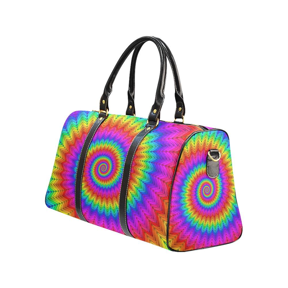 Psychedelic Rainbow Spiral New Waterproof Travel Bag/Large (Model 1639)