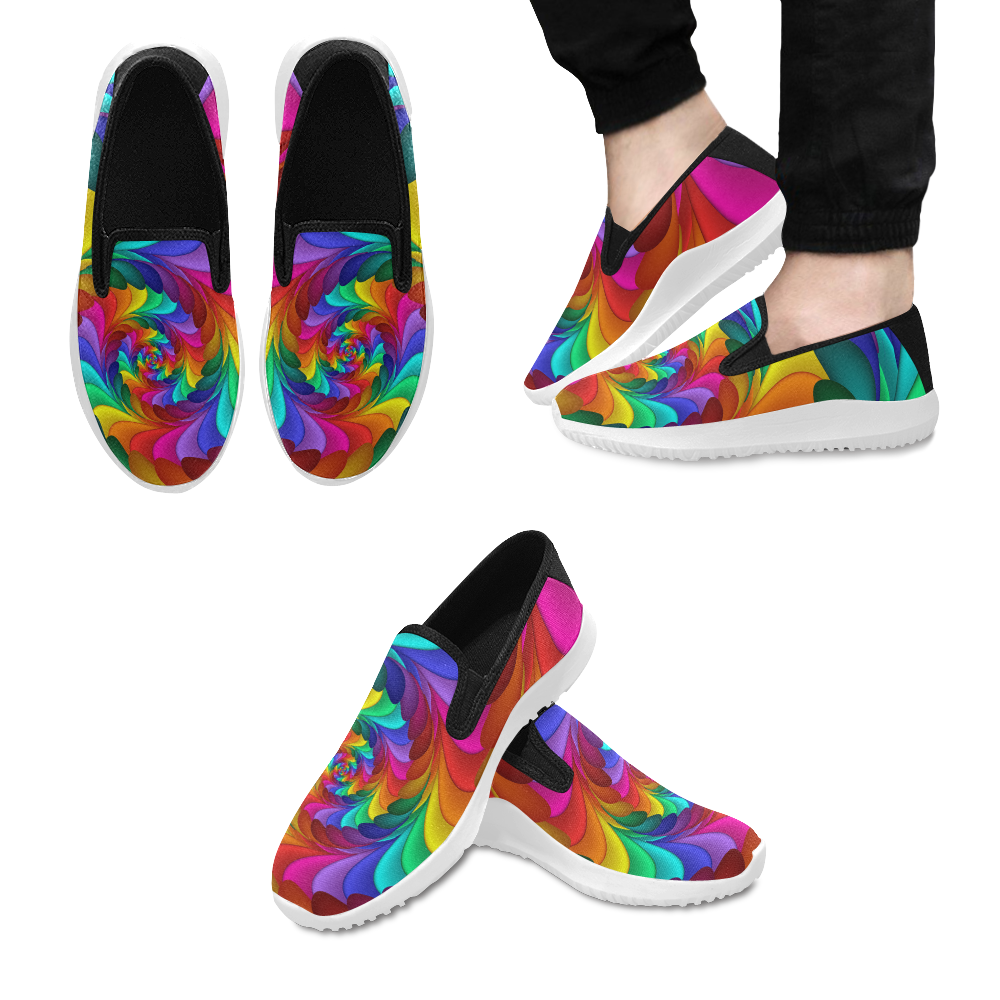 Psychedelic Rainbow Spiral Orion Slip-on Men's Canvas Sneakers (Model 042)