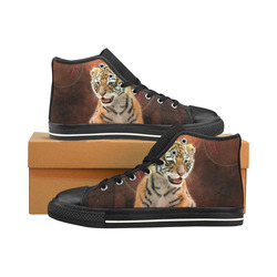 Cute little tiger Men's Classic High Top Canvas Shoes /Large Size (Model 017)