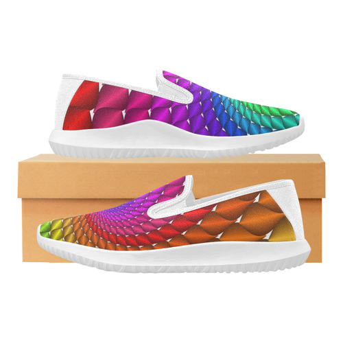 Psychedelic Rainbow Spiral Orion Slip-on Women's Canvas Sneakers (Model 042)