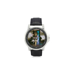 The women of earth Unisex Stainless Steel Leather Strap Watch(Model 202)