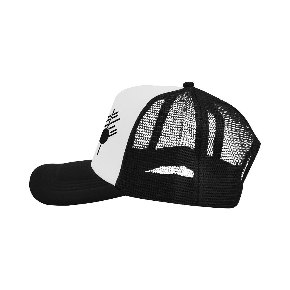 Black Geometric Art Stripes Triangle Dot Trucker Hat