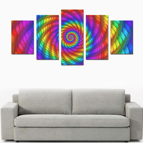 Psychedelic Rainbow Spiral Canvas Print Sets D (No Frame)