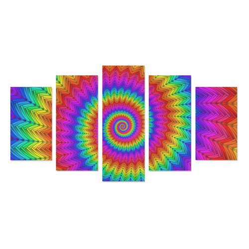 Psychedelic Rainbow Spiral Canvas Print Sets A (No Frame)