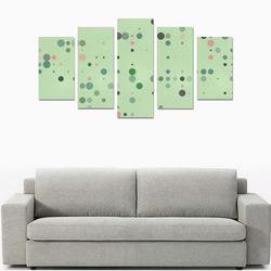 Vintage pink and green polka dots Canvas Print Sets A (No Frame)