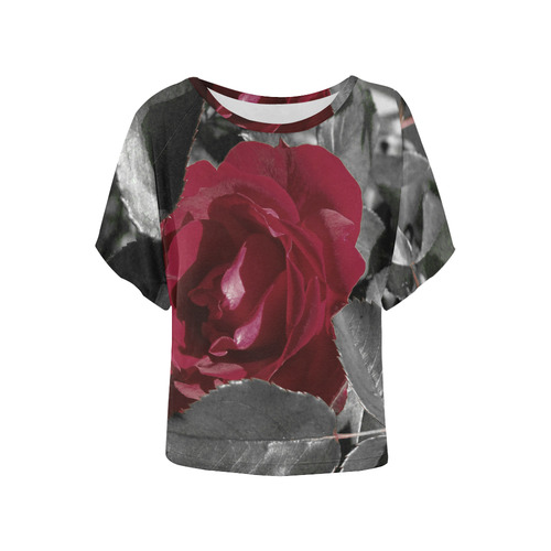 Hued Red Rose Women's Batwing-Sleeved Blouse T shirt (Model T44)