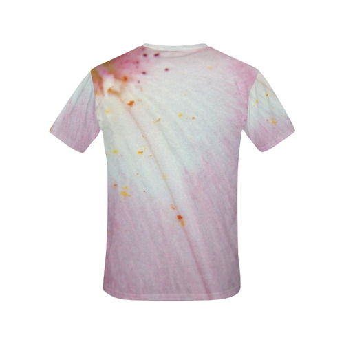 Pink Lily Tongue All Over Print T-Shirt for Women (USA Size) (Model T40)