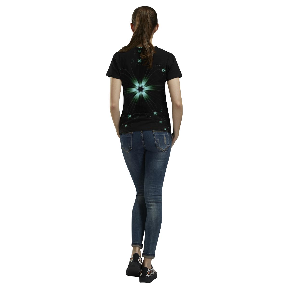 Teal Flower Burst All Over Print T-Shirt for Women (USA Size) (Model T40)