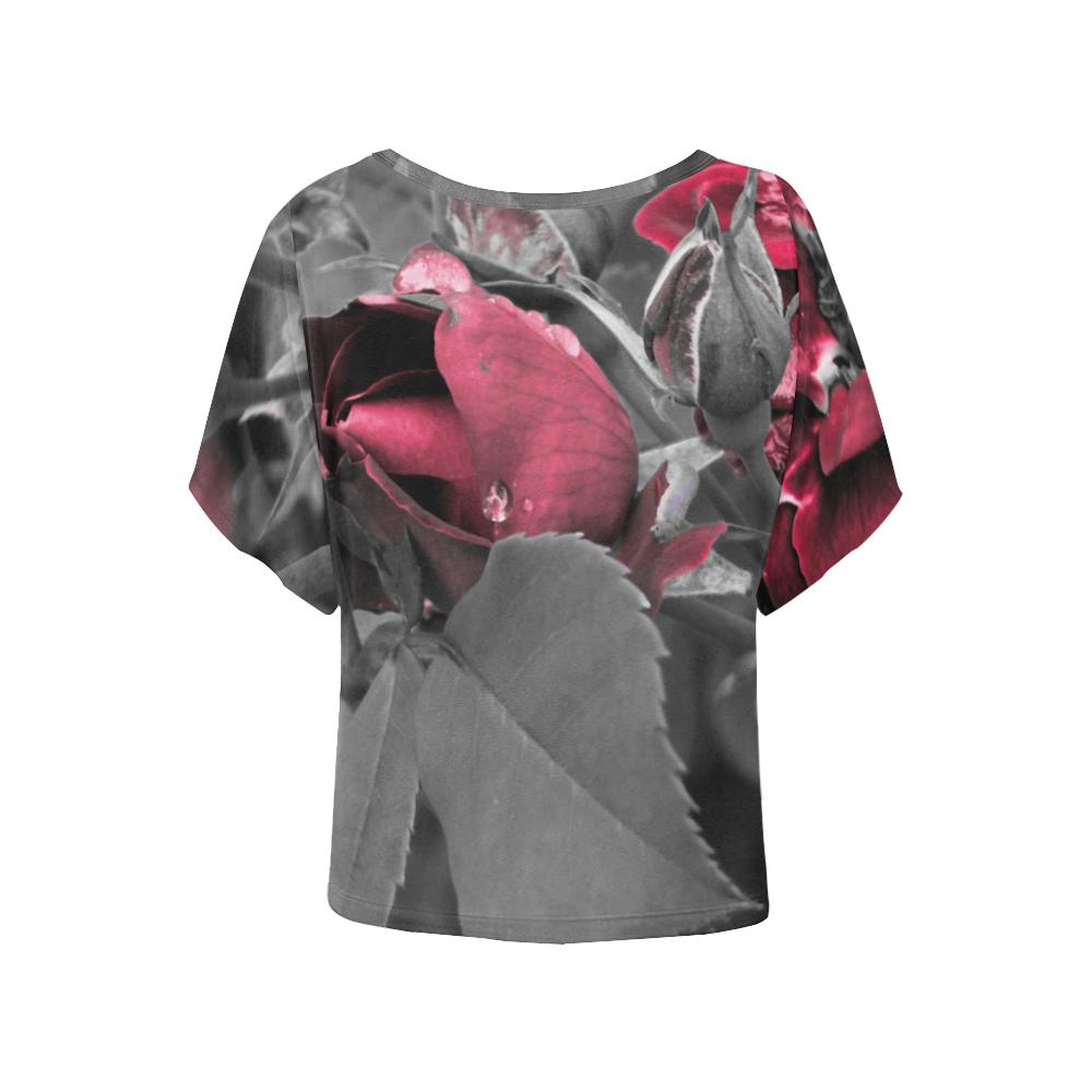 Hued Rose Bud Women's Batwing-Sleeved Blouse T shirt (Model T44)