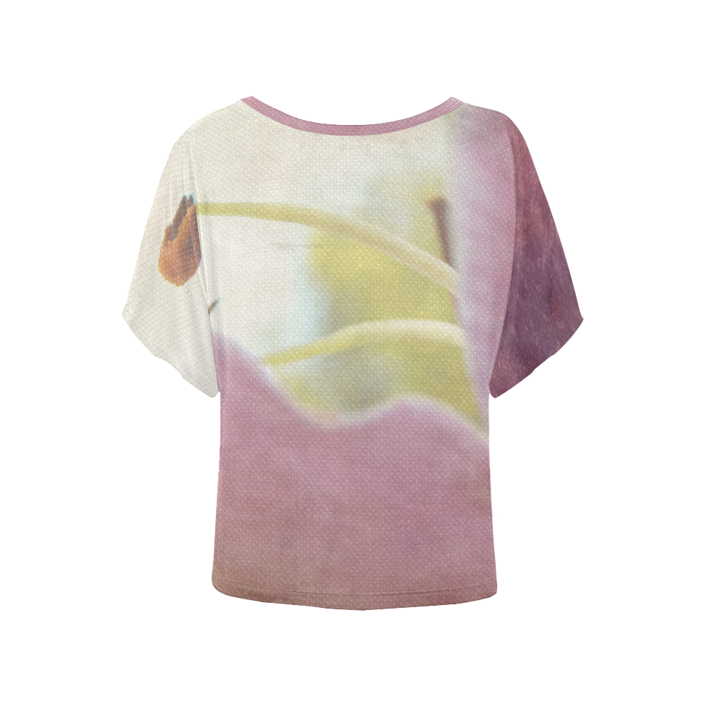 Artistic Pink Lily Women's Batwing-Sleeved Blouse T shirt (Model T44)