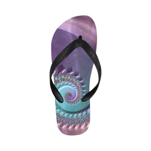 purplish fractal Flip Flops for Men/Women (Model 040)