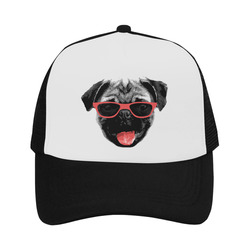 Cute PUG / carlin with red tongue & sunglasses Trucker Hat