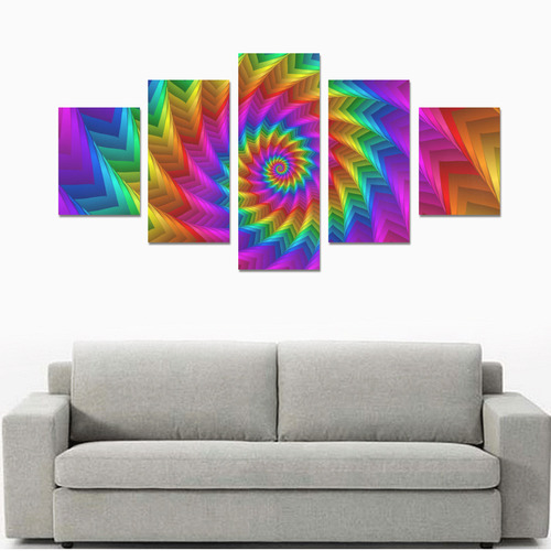 Psychedelic Rainbow Spiral Canvas Print Sets B (No Frame)