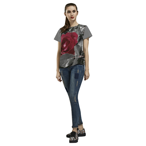 Hued Red Rose All Over Print T-Shirt for Women (USA Size) (Model T40)