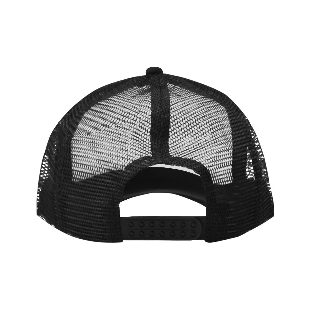 Black Geometric Art Stripes Triangles Rhombuses Trucker Hat