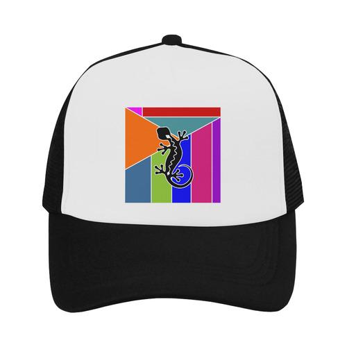 Modern Geometric Mosaic Contrast Gecko Trucker Hat