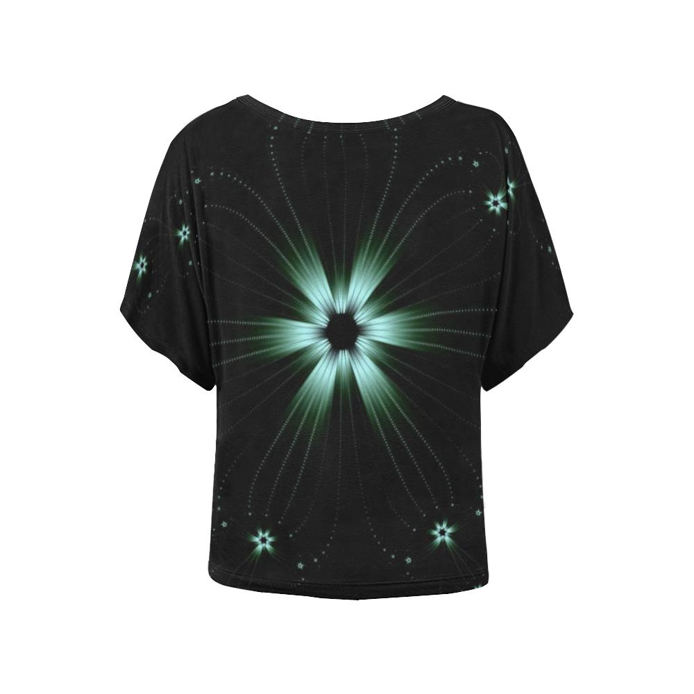 Teal Flower Burst Women's Batwing-Sleeved Blouse T shirt (Model T44)