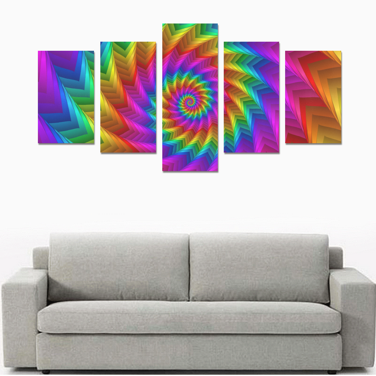 Psychedelic Rainbow Spiral Canvas Print Sets C (No Frame)