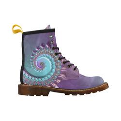 purplish fractal High Grade PU Leather Martin Boots For Women Model 402H