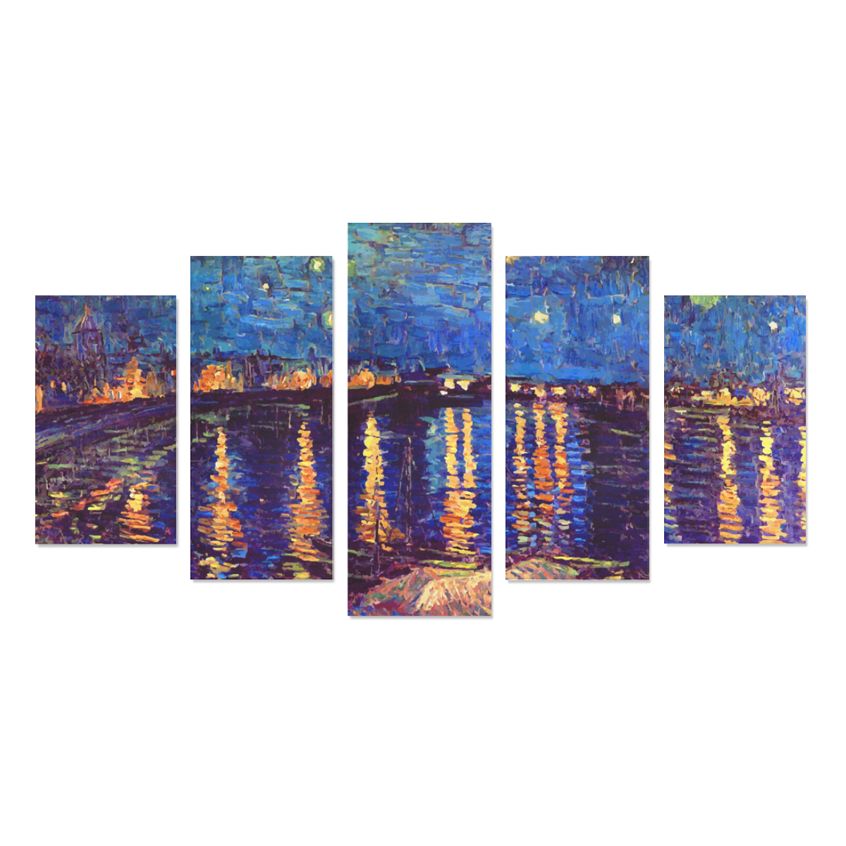 Van Gogh Starry Night Over Rhone Canvas Print Sets A (No Frame)