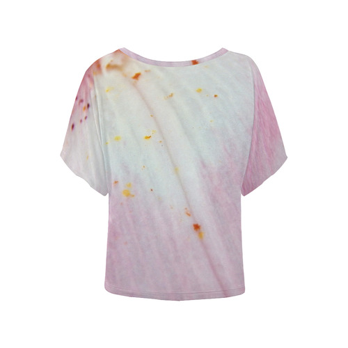 Pink Lily Tongue Women's Batwing-Sleeved Blouse T shirt (Model T44)