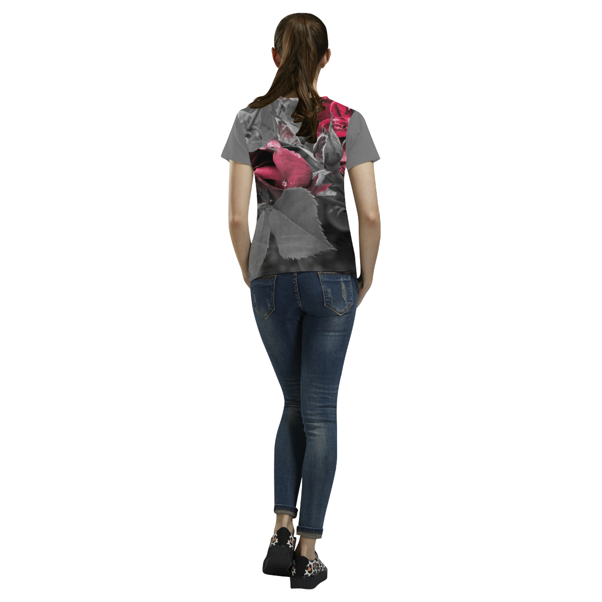 Hued Rose Bud All Over Print T-Shirt for Women (USA Size) (Model T40)