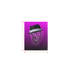 elegant skull with hat,hot pink Logo for Men&Kids Clothes (4cm X 5cm)