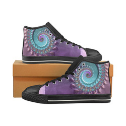 purplish fractal High Top Canvas Women's Shoes/Large Size (Model 017)