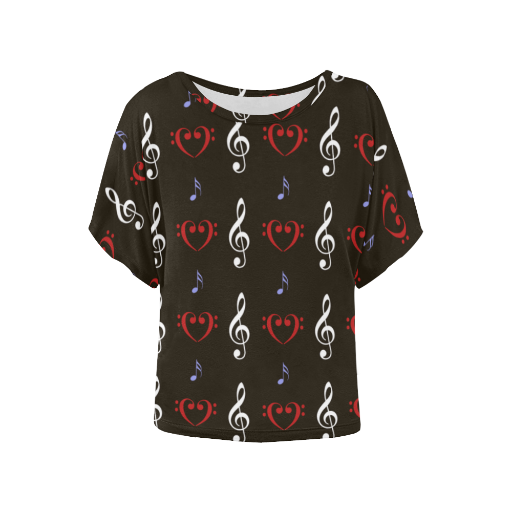 Red White and Musical Women's Batwing-Sleeved Blouse T shirt (Model T44)