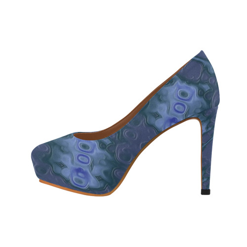 Blue Textured Leather Women's High Heels (Model 044)